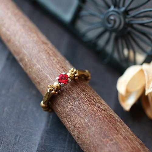 EF golden years NO.190 elegant red rhinestone elastic brass ring tail ring foot ring