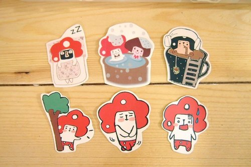 Mushroom dishes daily life sticker set