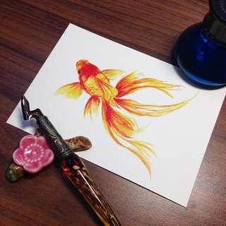 Postcard ~ Ink Dyeing - Goldfish