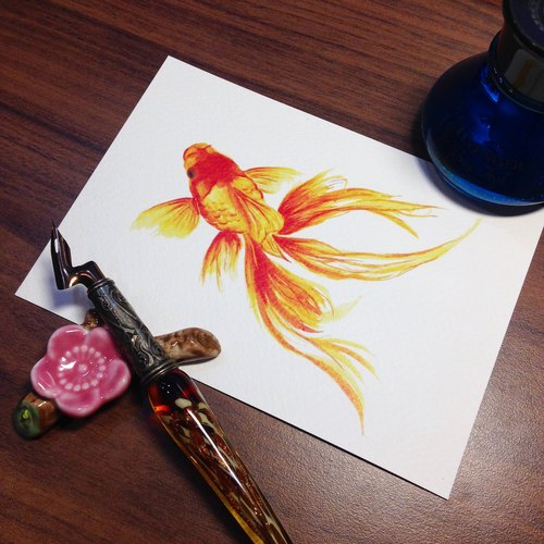 Postcard ~ ink dye painting - goldfish