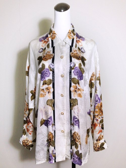 Vintage time [silk flowers textured antique white shirt] abroad back to vintage silk shirt VINTAGE