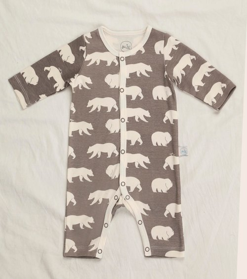gujui love bear (gray) - organic cotton long sleeve jumpsuit