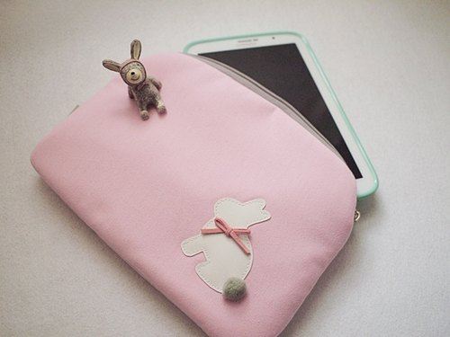 hairmo. Grass rabbit Computer / I Pad mini / note8.0 Case - Pink