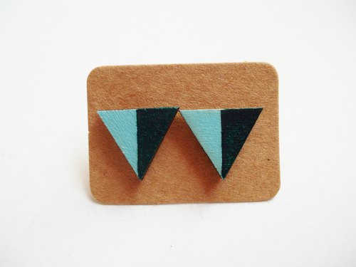 Hand-painted wooden blocks of color triangle earrings