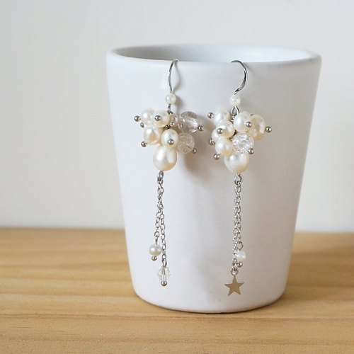 {KPC0055} + ice cracks pearl beads silver earrings