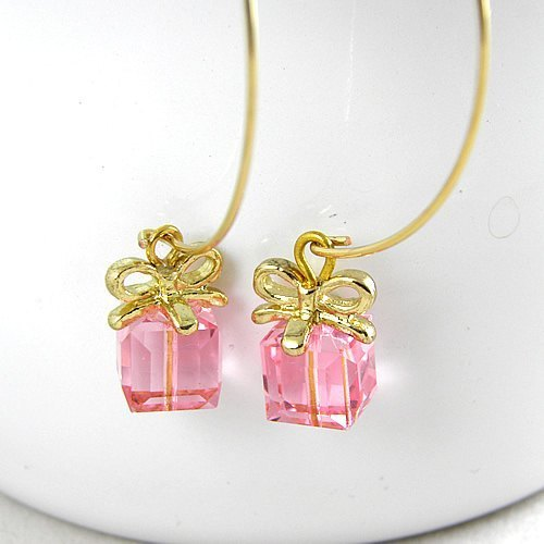 momolico peach Li can -SWAROVSKI crystal ear hook -sweet gift Happy Gift (C-223)