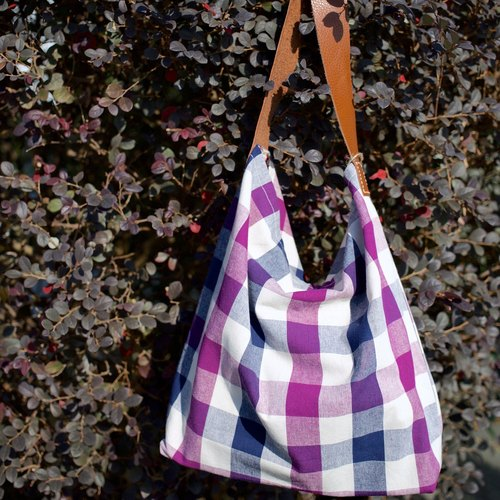 Double sided reversible shoulder bag with brown leather strap (Purple checkered print with purple Liberty floral print)