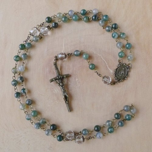 § Rosary § moss agate + white crystal