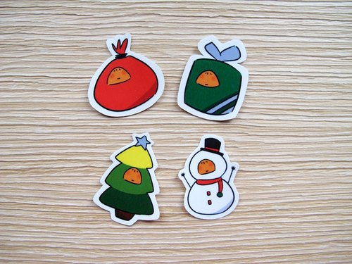 - Orange hiding - Camouflage Christmas sticker set