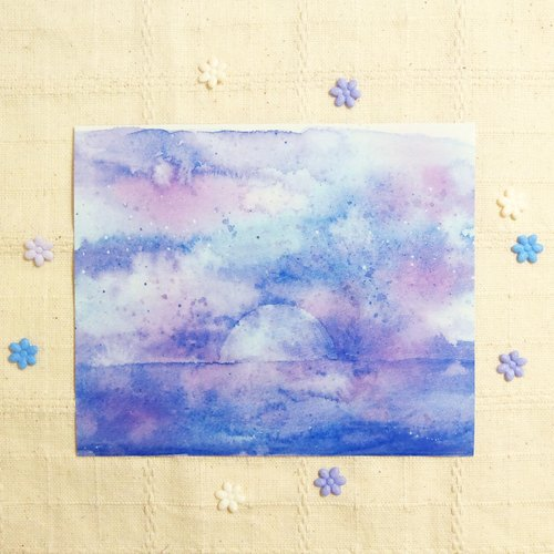 Purple Magic sunset - watercolor rendering geometry sticker