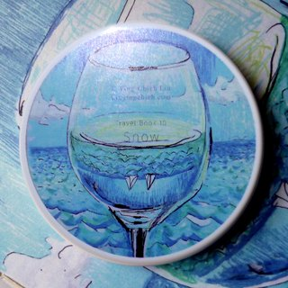 || || ○ liquor portable mirror box / mirror / small mirror / small round mirror ○ Auckland harborside landscape glass of sailing