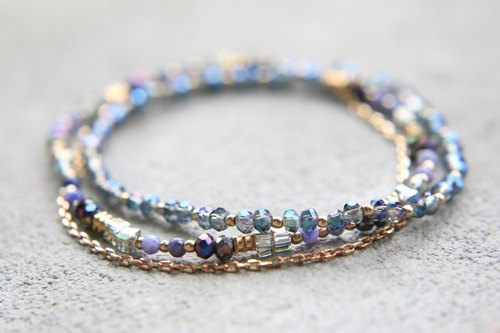 < ☞ HAND IN HAND ☜ > Crystal - around two laps bracelet (0597)