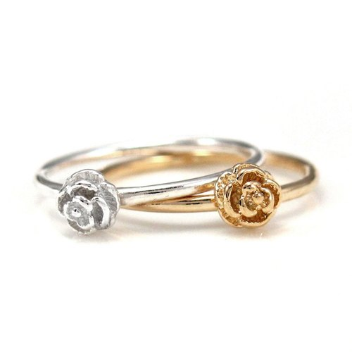 Ring 925 sterling silver rings rose roses oath style (2 color optional) -64DESIGN