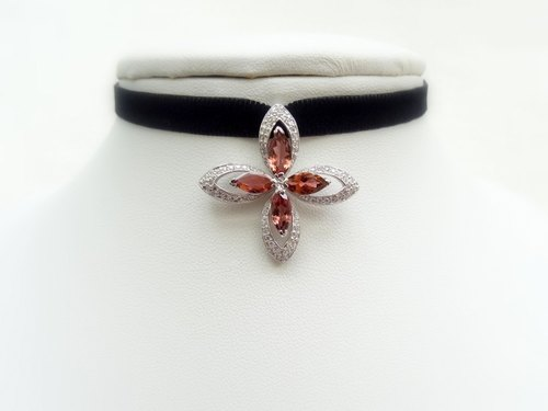 ::Downton Retro:: Red Tourmaline Marquise Cut w/ CZ Micro Pave Set Sterling Silver Pendant Black Velvet Ribbon Choker