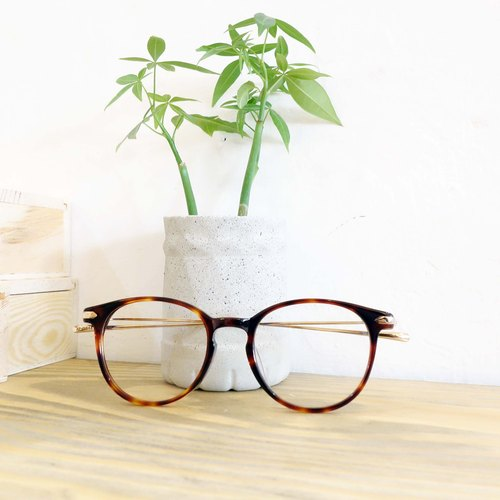 Lightweight titanium plate temples + red retro round hat box turtle