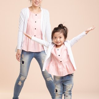 Light sweet Family fitted striped blouse Lace ~ Code Yabu (gray pinstripe)