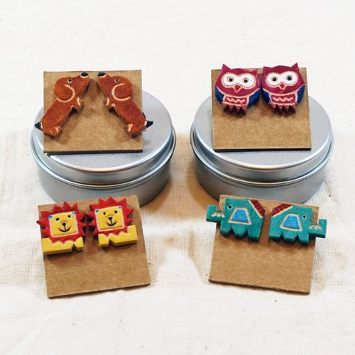 two pigs - pig play two home handmade leather leather leather ─ Silver earrings (square)