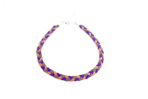 Purple, green and orange - Tri-color Twisted Necklace