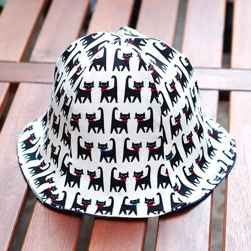 Calf Calf Village village men and women hat cap visor sided handmade pet cat meow {black} Limited