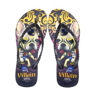 QWQ Creative Design Flip-Flops (No Drills)-Villain Dog-Black [STN0311505]