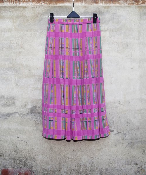Shiatzy pink plaid pleated skirt vintage - dislocation vintage -