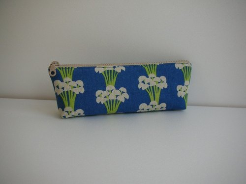 bagme mushroom pattern cotton (blue) - Pencil / 000 packets / debris bag