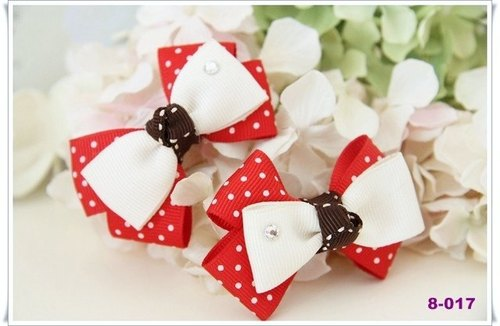 American style red and white hand-made bow [little] round hairpin / hair bundle