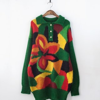 [Banana Flyin & # 39;] big flower green pullover Long