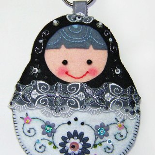 Russian doll card set - black and white