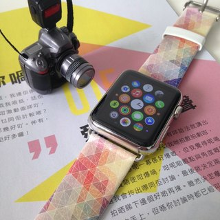 Apple Watch Series 1, Series 2 and Series 3  - 彩色點與線圖案Apple Watch 真皮手錶帶38 / 42mm ,100%香港設計及製作 - 42
