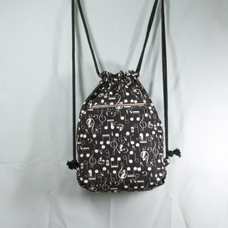 Black and white music bunched backpack