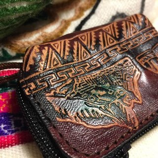 Dyeing leather handle small purse - leather imprinted Totem (Machu Picchu)