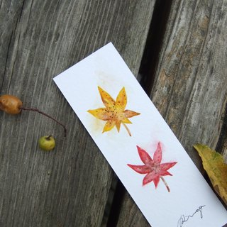 Maple leaves - hand-painted watercolor bookmark card (original)