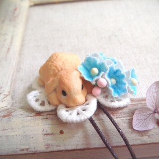 Garohands forest of Japan Papa Rabbit feel small bouquet of long chain * light blue gift A406