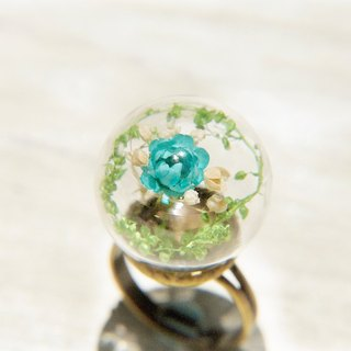 Valentine's Day gift / forest girl / English dried flowers transparent glass ball ring - blue forest
