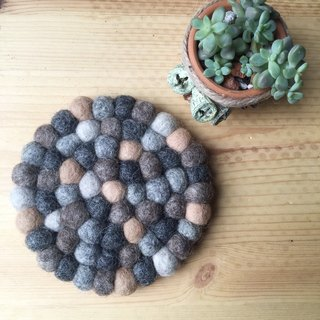 """Bleating House"" balls of wool felt coasters (stone color)"