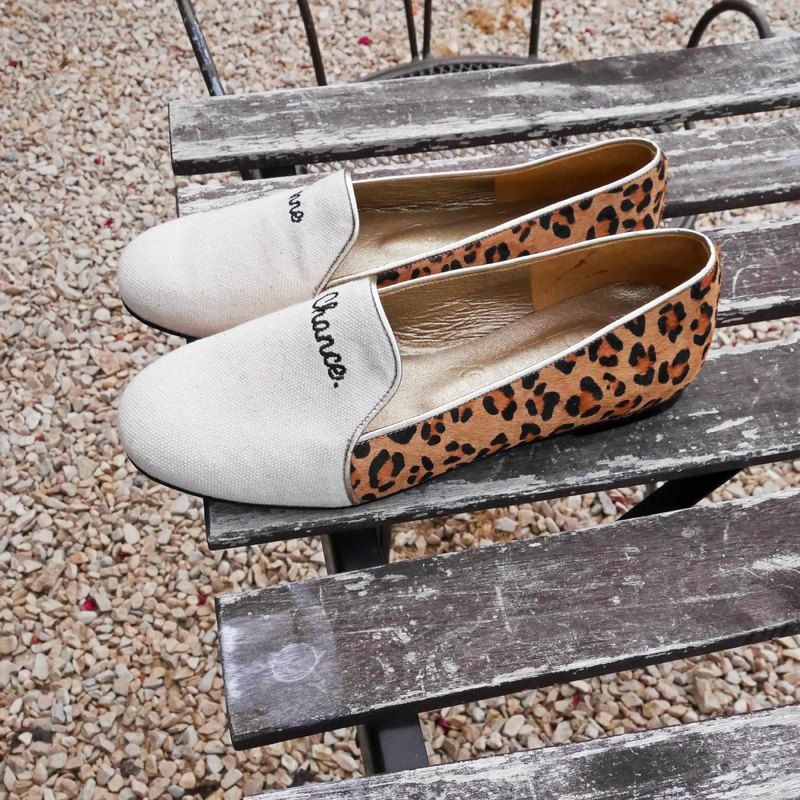 [M.Shoes. Take another step. 】 French fashion stitching Lok Fu shoes - Leopard horse hair (22.5)