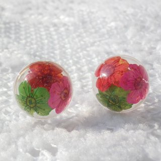Anny's workshop Yahua jewelry hand-made, three-color small handball earrings (ear pin)