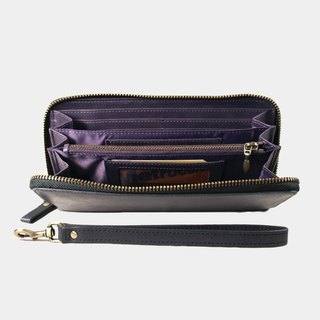 Influxx Montage Zip Leather Wallet with Wrist Strap - Purple