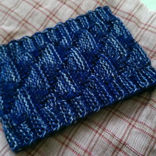 Lan hand-made knit headband triangle weave (yarn flower sea blue)
