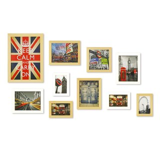 HomePlus Photoframe LightBrown+White 10PCS City Decor Loft