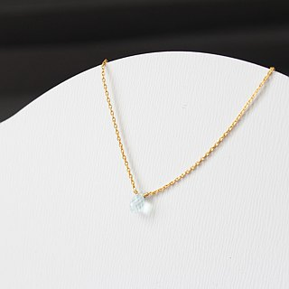 MARCH 3 -birthstone-  necklace Brass with 22K Gold plated (adjustable)