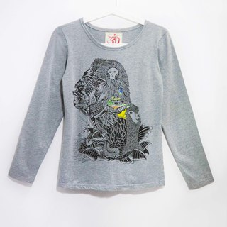 Feel forest wind cotton long-sleeved shirt / South American Indians (cannabis gray)
