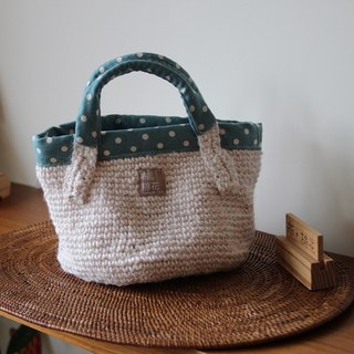Hemp knitting Handbag, White hemp rope, Tiffany Blue Spot Inside
