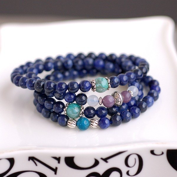 Apatite*Lithium mica*Silicone malachite * Deep blue sodalite 108 beads / beads necklace / multi-turn bracelet