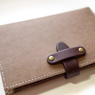Washed leather / paper passport holder / admission package. Chocolate color
