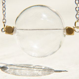 Valentine's Day gift / transparent system / British sphere glass ball brass necklace - Transparent Planet
