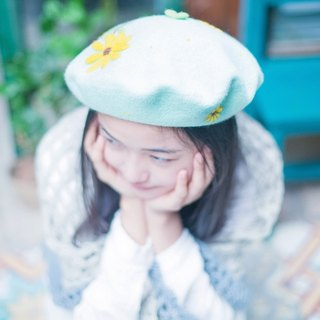 Zhang Sen Department Sunflower cute hat hand-made to order paternity beret painter cap wool hat birthday gift