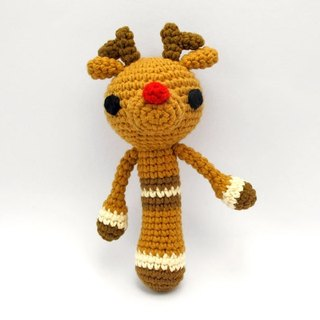 Red nose and elk - Knitting rattle - Hand births ceremony