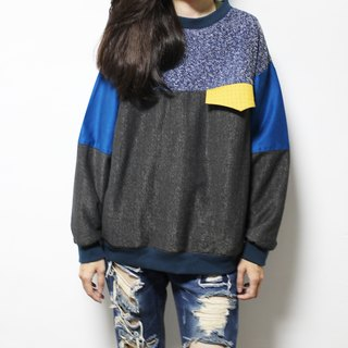 Snow fluttering splicing long sleeve pocket top